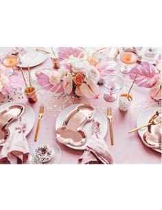 Pack 5 platos rosa oro